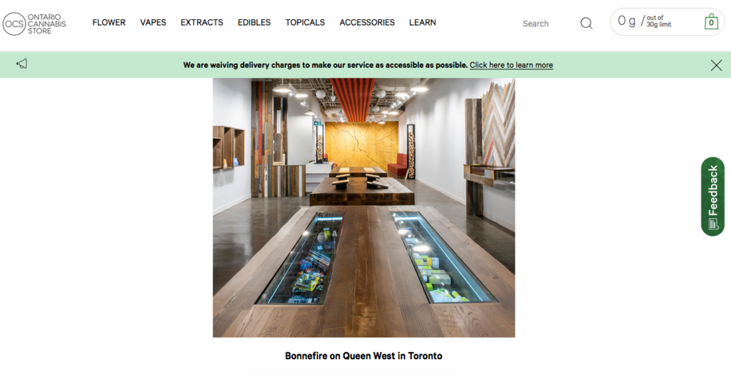 screengrab of top cannabis retail store article